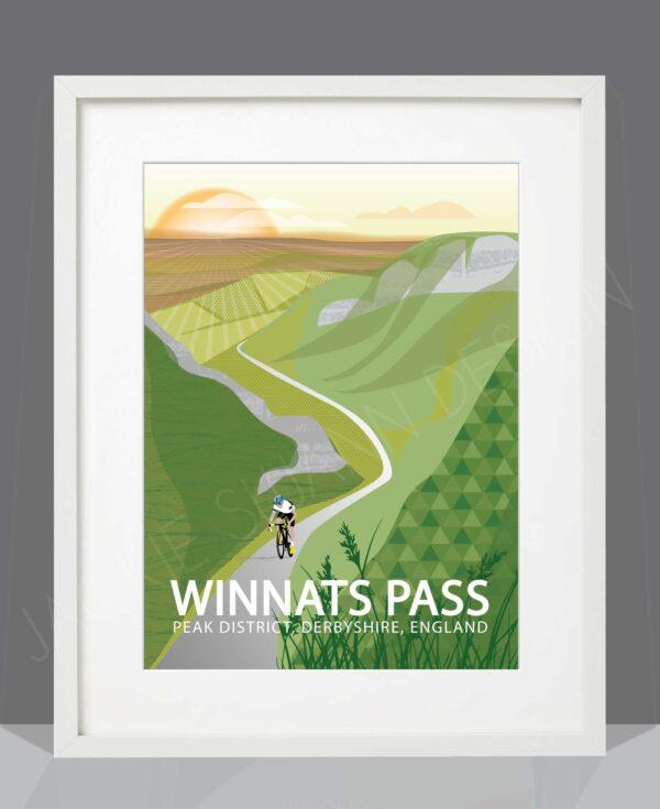 Winnats Pass White Framed print