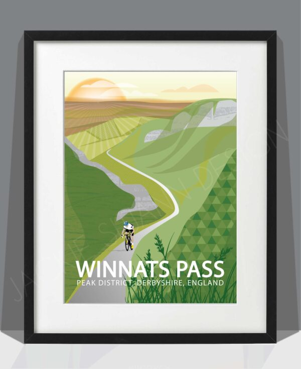 Winnats Pass Black framed Print